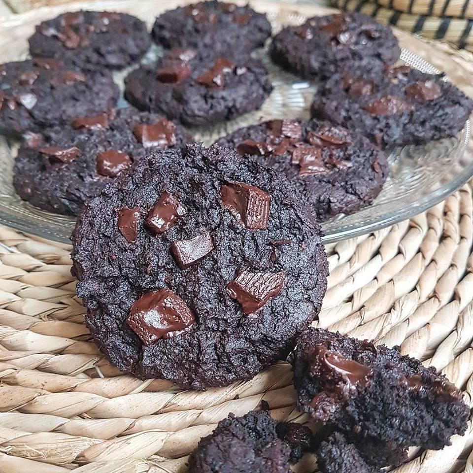 Brownies cookies healthy très chocolat (sans matières grasses ajoutées, sans farine, vegan)