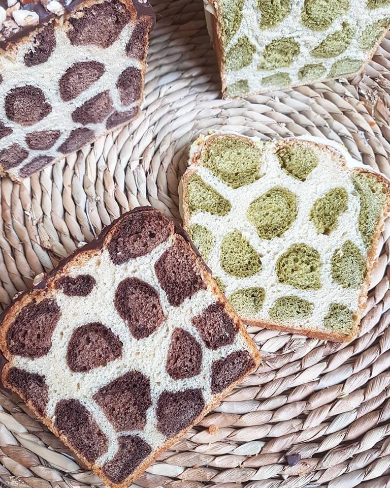 Pain brioché léopard au lait végétal version chocolat ou version thé vert matcha (sain et vegan)