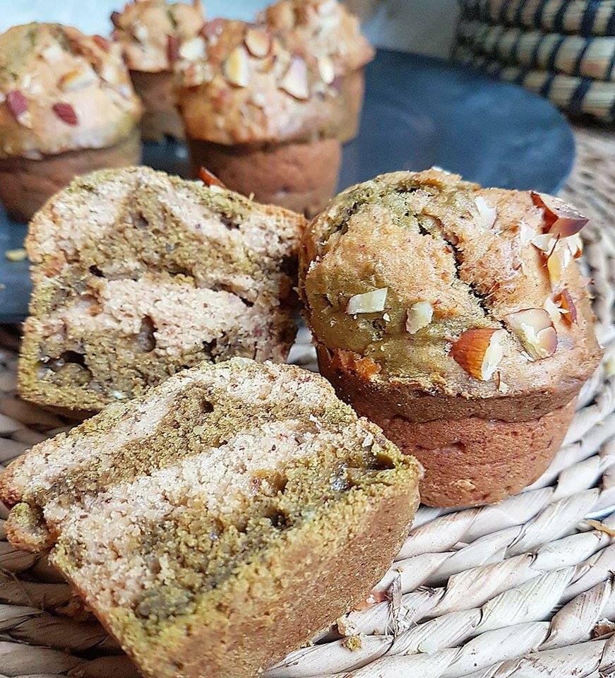 Muffins marbrés thé vert matcha / amandes sans sucres ajoutés, sains et vegan