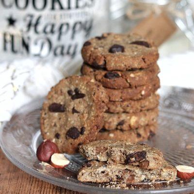 Cookies choco noisettes vegan et sans gluten (sans sucres ajoutés et allégés en matières grasses)