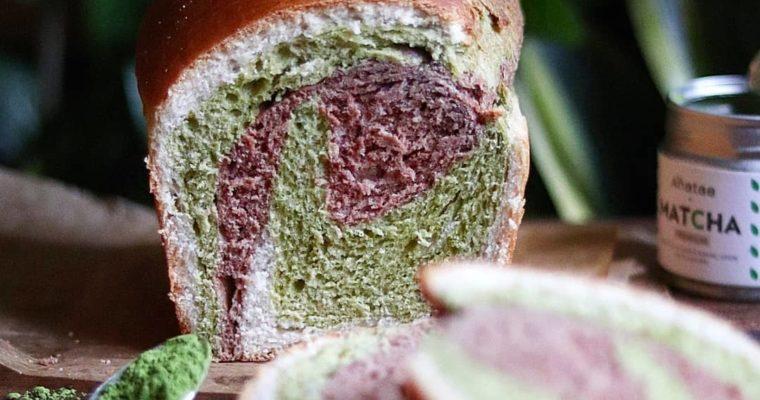 Pain brioché tricolore au lait végétal, cacao, vanille et matcha (vegan)