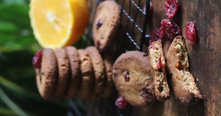 Cookies vegan et sans gluten orange, cranberries, cannelle et gingembre