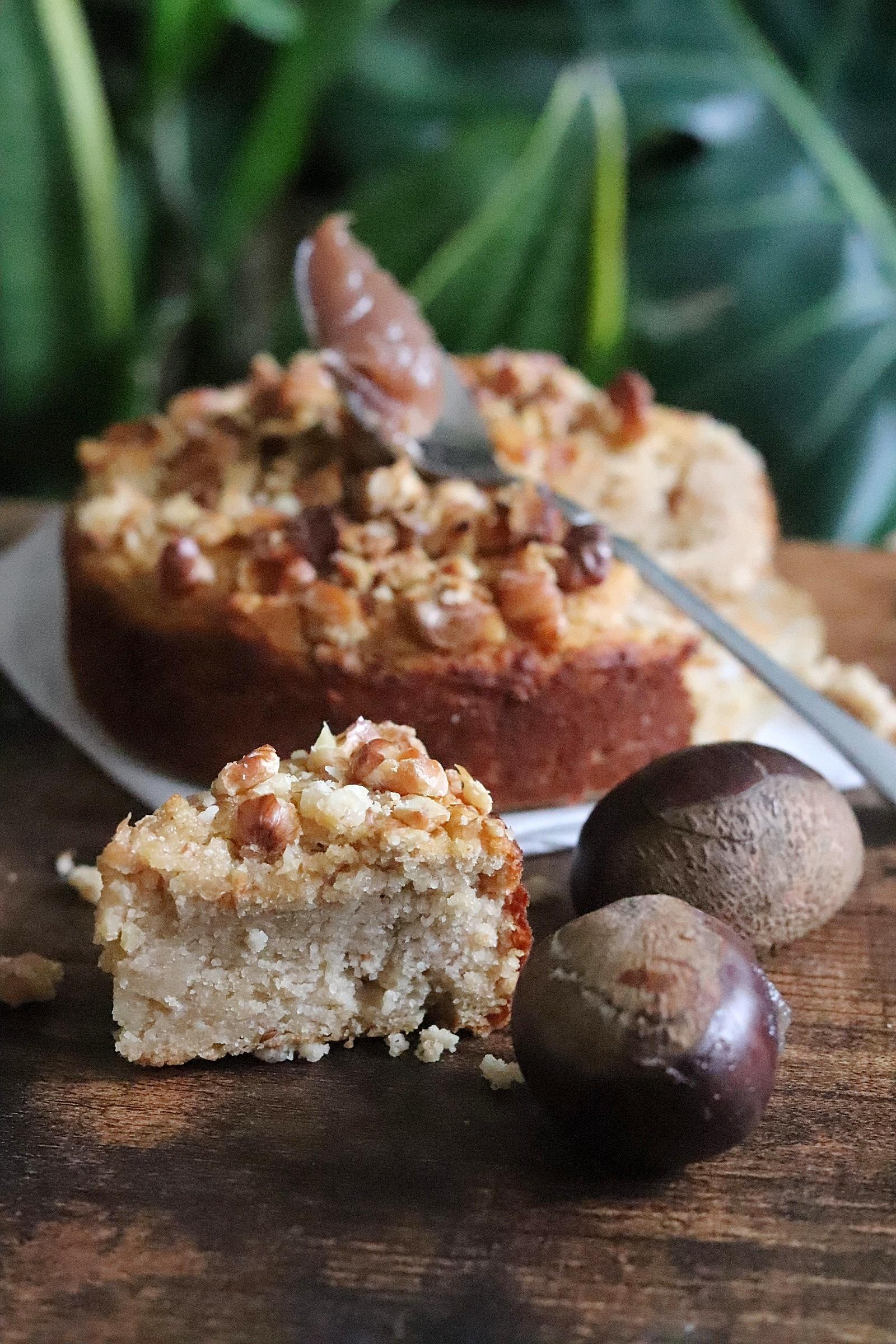 Moelleux fondant amande et crème de marrons, vegan, sans gluten, sans matières grasses ni sucres ajoutés