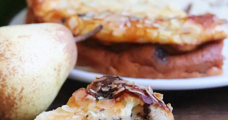 Gâteau flanfoutis au fromage blanc 0%, poires, vanille et chocolat noir, sans gluten ni MG ajoutées