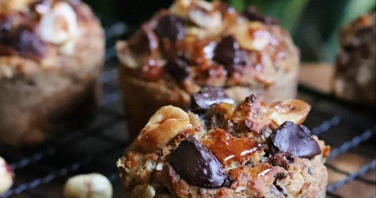 Muffins sans gluten et vegan sarrasin, noisette et éclats de chocolat noir, sans MG ni sucres ajoutés, ig bas