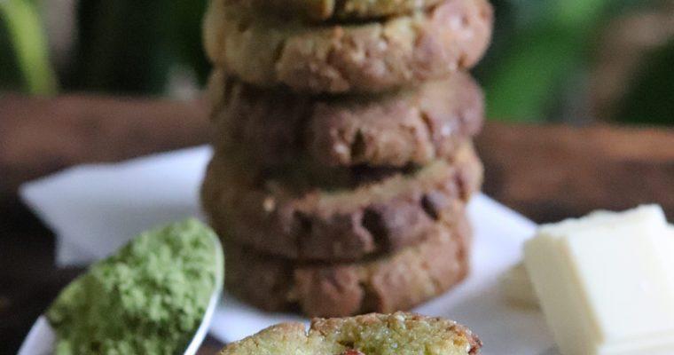 Cookies matcha et chocolat blanc vegan et sans gluten. Sans sucres raffinés, sans MG ajoutées